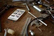 iPhone 6 Workshop Tools Mockup PSD