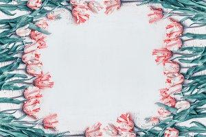 Pastel pink tulips frame