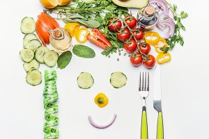 Face made of various vegetables