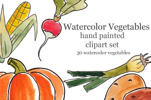 Watercolor vegetables, line
