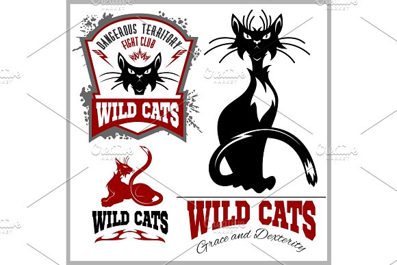 Black And White Cats Vector Set Vector Template For Logo And Tattoo