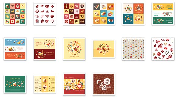 Vector bundle of 16 breakfast icons