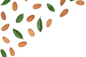 almonds with leaves isolated on white background with copy space for your text. Top view