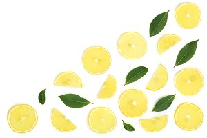 Slices lemon with leaves isolated on white background with copy space for your text. Flat lay, top view