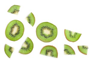 sliced kiwi fruit isolated on white background with copy space for your text. Flat lay pattern. Top view