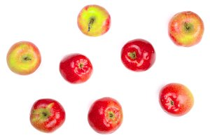 red apples isolated on white background top view. Flat lay pattern
