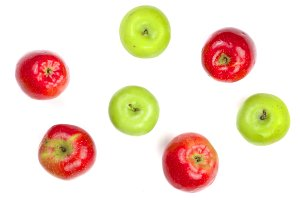 red and green apples isolated on white background top view. Flat lay pattern