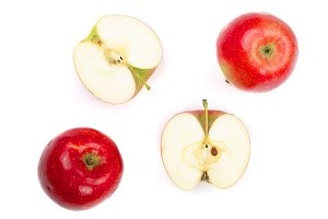 red apples with slices isolated on white background top view. Flat lay pattern
