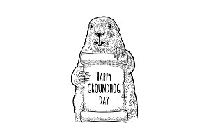 Groundhog holding poster. Engraving vintage black illustration.