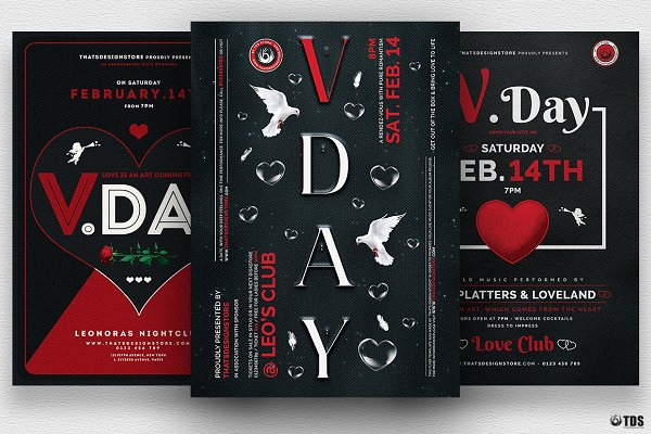 Flyer Templates: ThatsDesignStore - Valentines Day Flyer Bundle V3