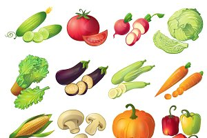 Fresh Vegetables Icon Set