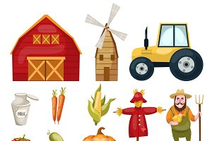 Farm Cartoon Elements Set