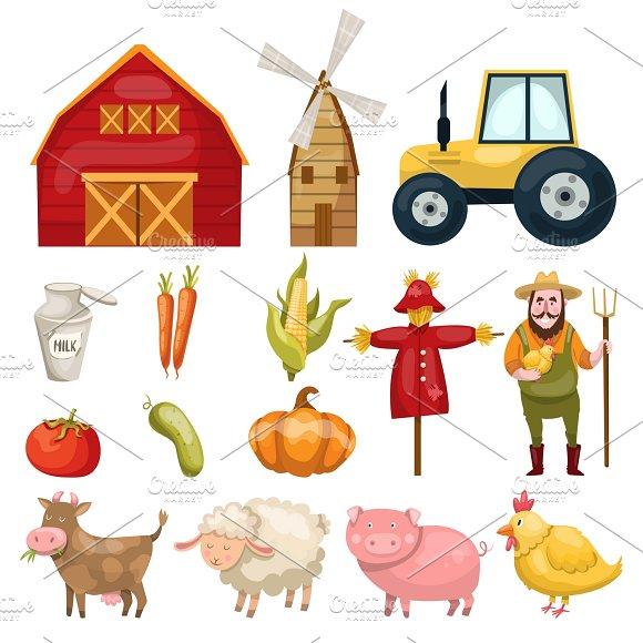 Farm Cartoon Elements Set