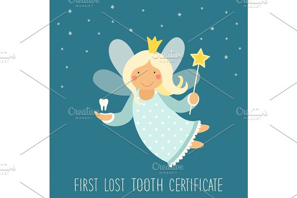 Cute hand drawn card with funny smiling cartoon character of tooth fairy in Objects