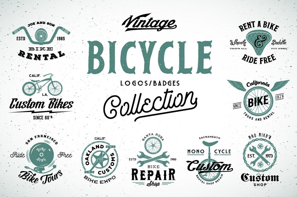 9 vintage bicycle logosbadges set logo templates creative market biocorpaavc Images