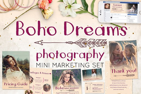 Photography Boho Mini Marketing Set