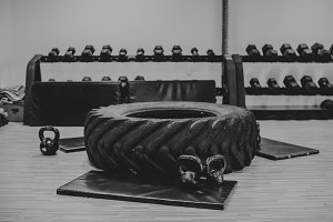 crossfit gym with dumbells