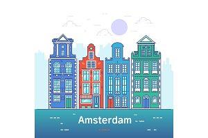 Amsterdam line art. European old town.