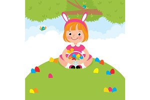 Children in Easter rabbit costume