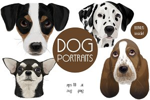 Dog portraits.Vector illustrations.