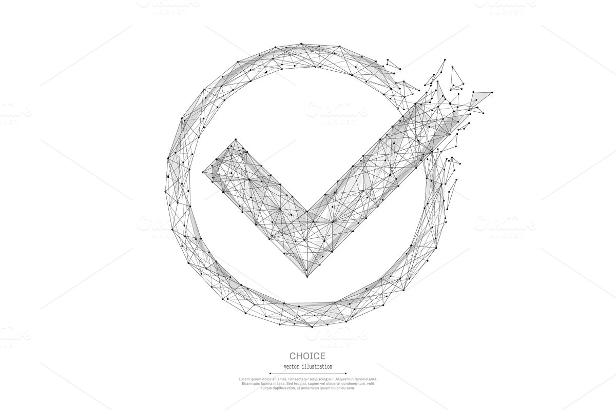 check mark low poly black on white
