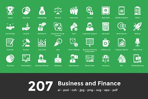207 Business and Finance Icons