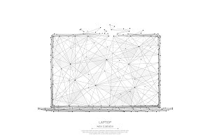 laptop low poly black on white