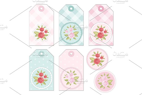 Vintage Tags With Roses In Shabby Chic Style For Scrap Booking Or As Sale Tags