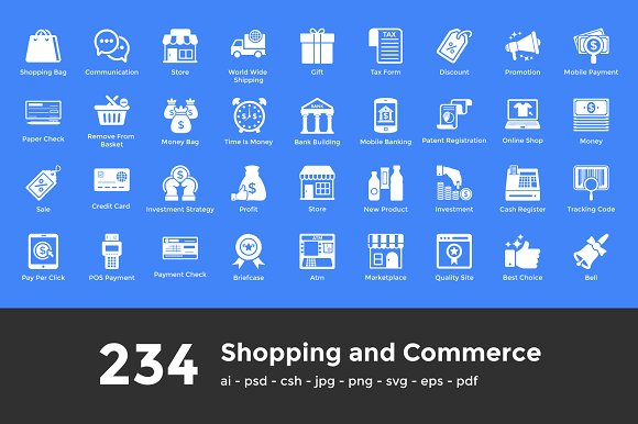 234 Shopping Glyph Icons