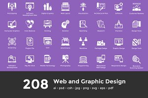 208 Web and Graphic Design Icons