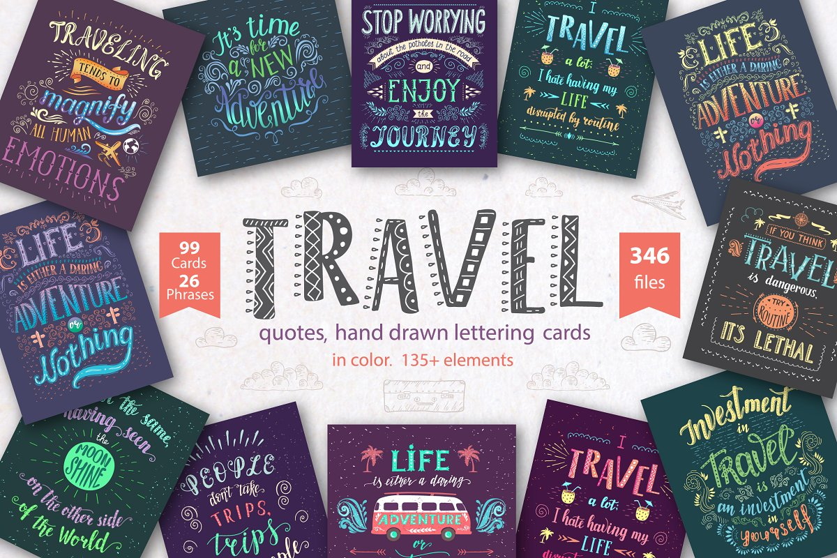 Travel.Hand drawn lettering in color