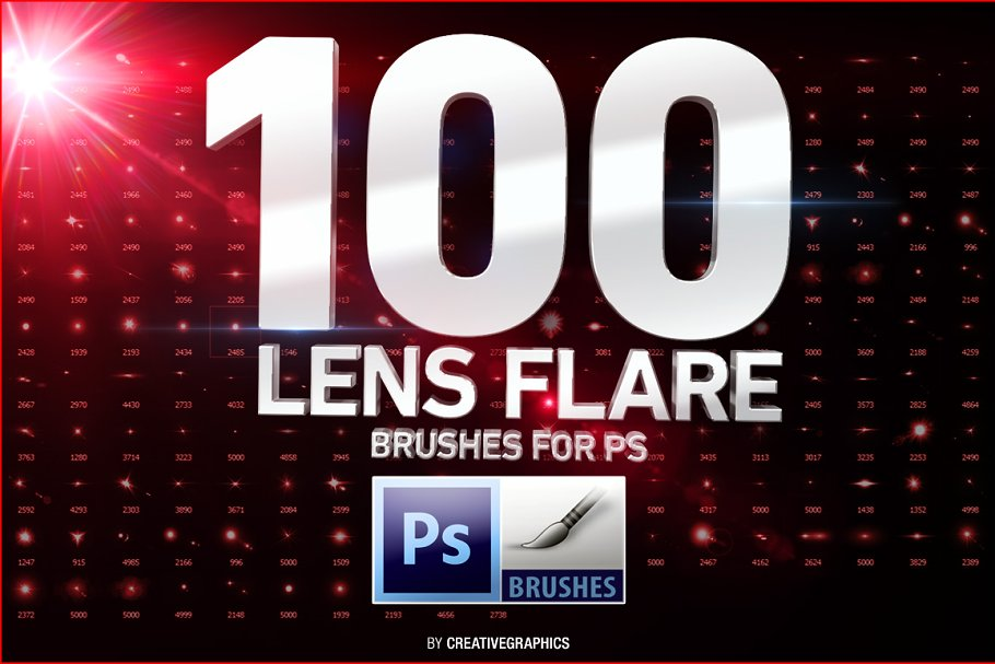 100 Lens Flare Brushes for Photoshop ~ Photoshop Add-Ons ~ Creative