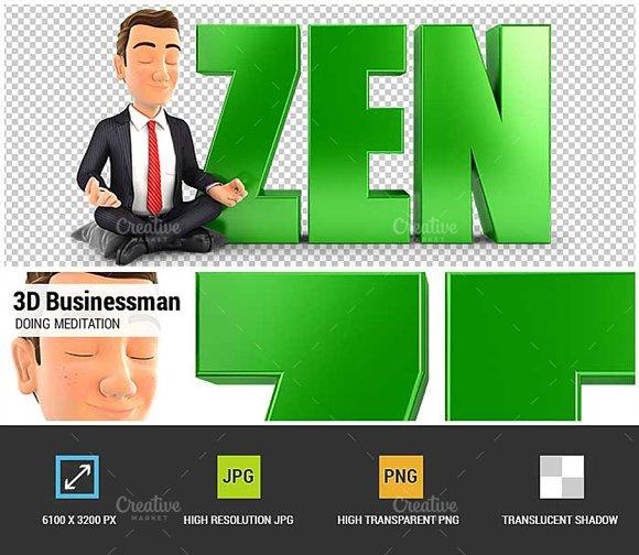 3D Businessman Doing Meditation