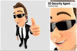 3D Security Agent Positive Pose
