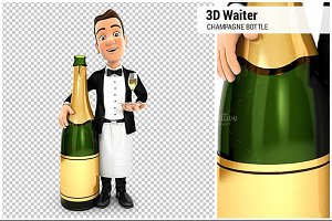 3D Waiter Champagne Bottle