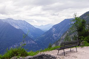 Bench in the mountains.