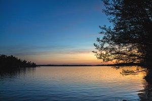 Orange sunset over the lake.