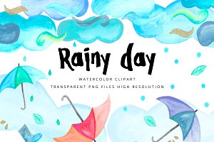 Rainy day - watercolor clipart