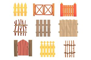 Different garden wooden fences and gates set, rural hedges vector Illustrations