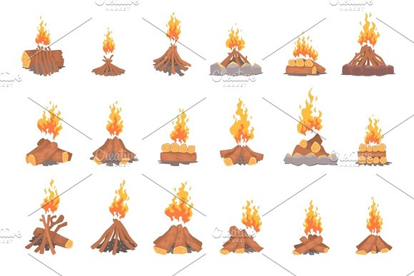 Cartoon bonfires set, types of tourist tcampfires vector Illustrations