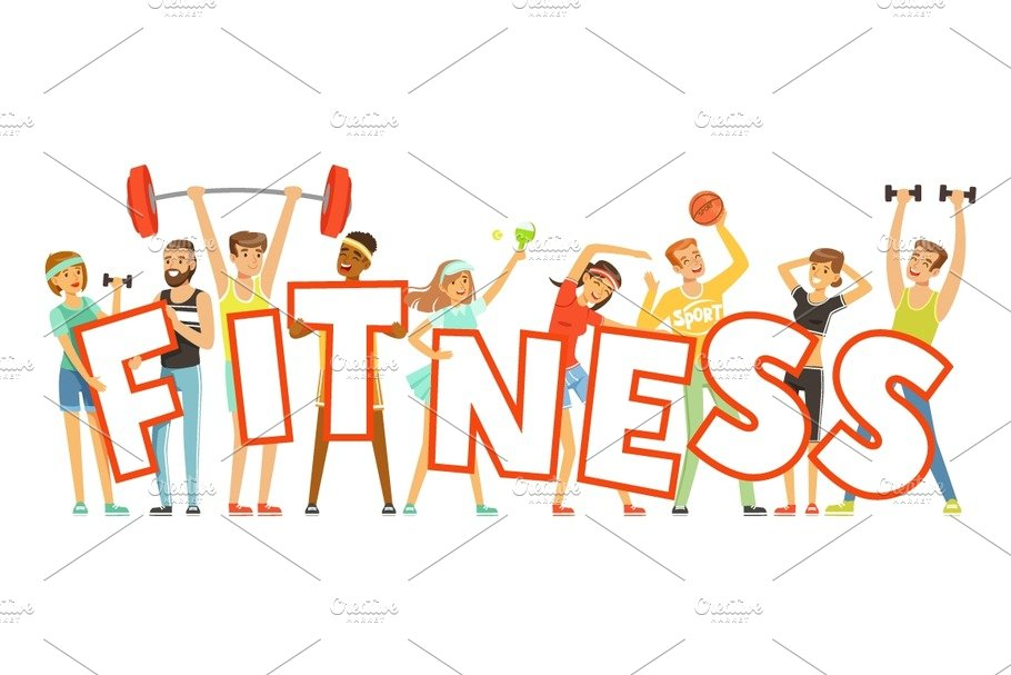 Group of smiling people in sport uniform holding the word - Fitness cartoon pics ...