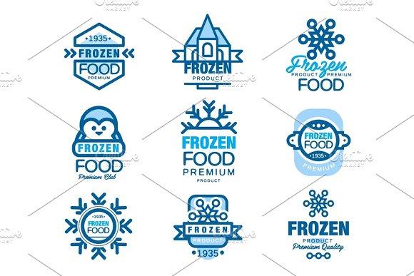 Frozen Food Premium Product Set Of Logo Templates Hand Drawn Vector Illustrations