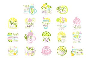 Fresh juice set of logo templates hand drawn colorful vector Illustrations