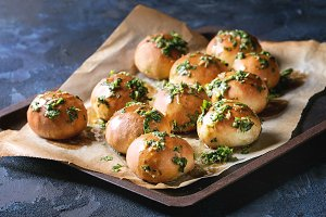 Homemade garlic buns