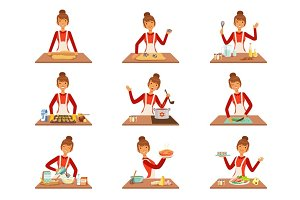 Smiling woman chef cook in white apron baking and preparing a variety of dishes, set of colorful detailed vector Illustrations