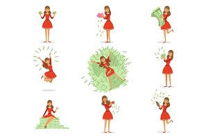 Happy young rich woman in a red dress enjoying her money, set of colorful detailed vector Illustrations