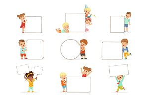 Smiling kids standing with white blank boards set. Happy little boys and girls in casual clothes holding empty posters vector illustrations