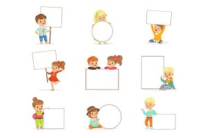 Cute kids holding white blank boards in different poses set. Smiling little boys and girls in casual clothes with empty posters vector illustrations