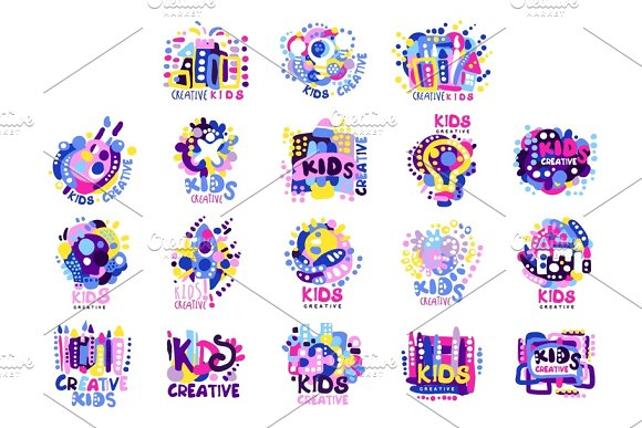 Kid creative set of colorful logo graphic templates hand drawn vector Illustrations
