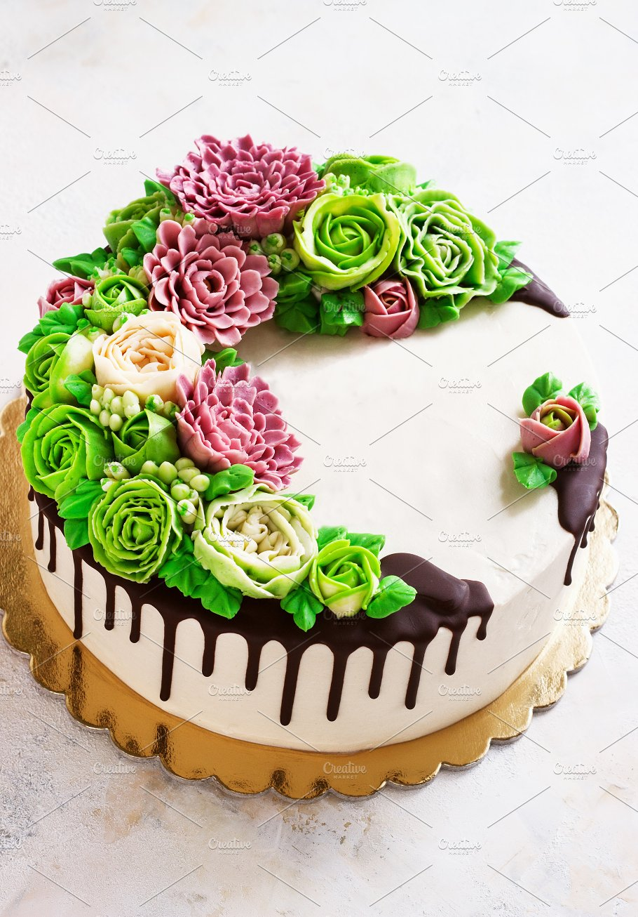 Birthday Cake With Flowers Rose On White Background Food Images